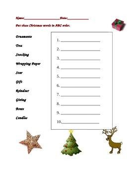 Christmas ABC order elementary
