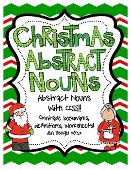 Christmas Abstract and Concrete Noun Printables with CCSS!!
