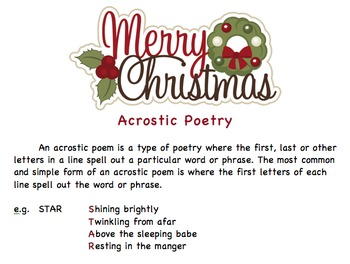 Christmas - Acrostic Poem