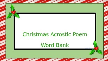 Christmas Acrostic Poem Word Bank and Rough Draft Form by Primary Tec