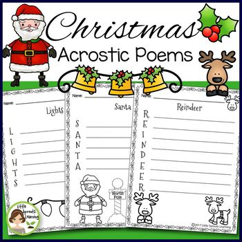 Christmas Activities - Acrostic Poems (20 poems to print and go)