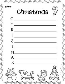 Christmas Activity - Acrostic Poems
