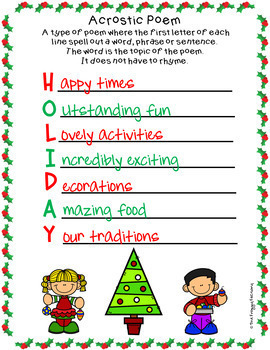 Poems About Christmas.Christmas Acrostic Poems Christmas Writing Activity By The Froggy