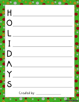 Christmas Acrostic Poetry (templates & posters!)
