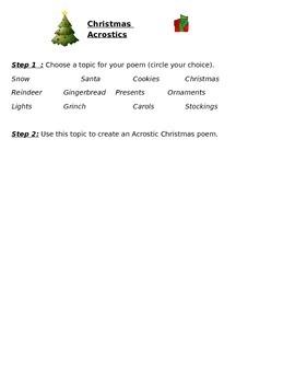 Christmas Acrostics