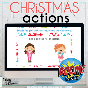 Christmas Action Verbs Boom Cards for Speech Therapy
