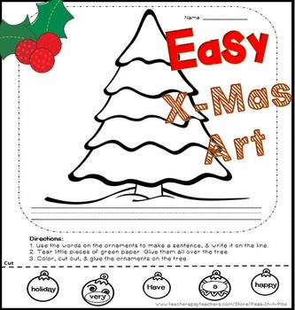 Christmas Tear Art Activity K and 1st Grade