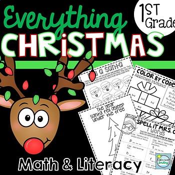 Christmas Activities 1st Grade NO PREP ~ Christmas Math and Literacy 1st Grade