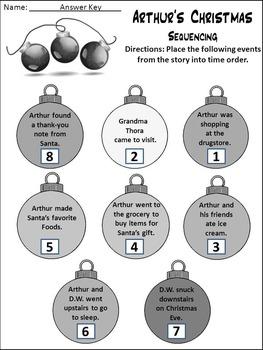 Christmas Language Arts Activities: Arthur's Christmas Activity Packet