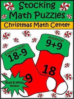 Christmas Game Activities: Christmas Stocking Math Puzzles Christmas Math Center