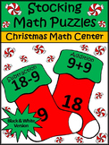 Christmas Game Activities: Christmas Stocking Math Puzzles Activity - BW