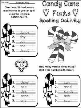 Christmas Reading Activities: Candy Cane Facts Activity Packet