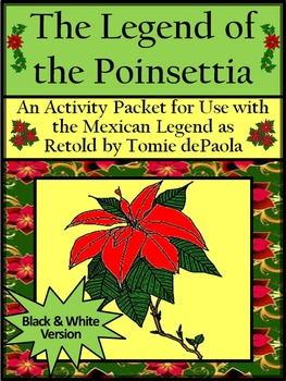 image regarding The Legend of the Poinsettia Printable Story referred to as Xmas Studying Things to do: The Legend of the Poinsettia Recreation Packet - BW