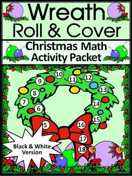 Christmas Activities: Christmas Wreath Roll & Cover Christmas Math Center