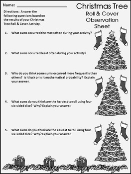 Christmas Activities: Christmas Tree Roll & Cover Christmas Math Center Activity