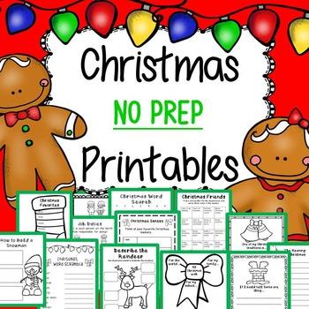 Christmas Activities for Kindergarten, 1st Grade, and 2nd Grade