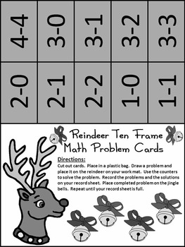 Christmas Math Activities: Reindeer Christmas Ten Frames Math Activity Packet