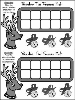 Christmas Math Activities: Reindeer Christmas Ten Frames Math Activity Packet