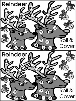 Reindeer Activities: Reindeer Roll & Cover Christmas Math Center Activity