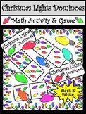 Christmas Math Activities: Christmas Lights Dominoes Christmas Game Activity -BW