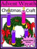 Christmas Activities: Advent Wreath Christmas Craft Activity - BW Version