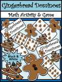 Christmas Activities: Gingerbread Men Christmas Dominoes Math Game Activity - BW