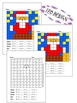 Christmas Activities - Mystery Picture - Santa Claus - Addition and Subtraction
