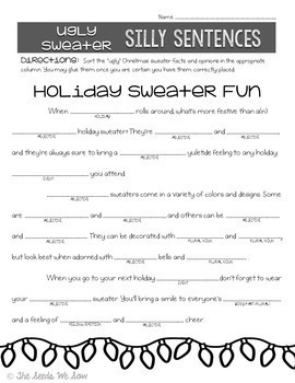 Ugly Christmas Sweater Activity Pack