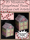 Christmas Activities: 3D Miniature Gingerbread House Craft Bundle -Color&BW