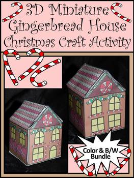 Christmas Activities 3d Miniature Gingerbread House Craft Bundle Color Bw