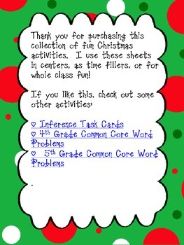 Christmas Activities 3rd-5th Grade