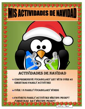 Christmas Activities- AR/ER/IR Navidad - Writing Prompt -Spanish