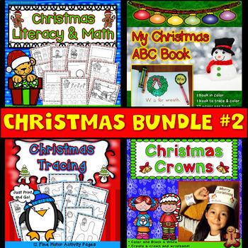 Christmas Activities Bundle #2: Literacy, Math, ABC Mini Book, Tracing, & Crowns