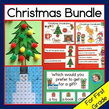Christmas Activity Bundle - First  Grade reading, time, hundreds charts & more!