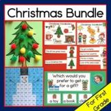 Christmas Activity Bundle - First  Grade reading, time, hu
