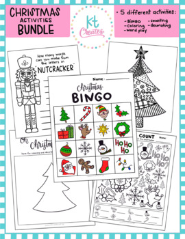 Christmas Activities Bundle!- coloring, word play, counting bingo and more!