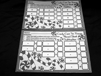 Christmas Activities: Candy Cane Christmas Ten Frames Math Center Activity