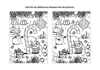 Christmas Activities: Candy Cane Find the Differences and Coloring Page, CU