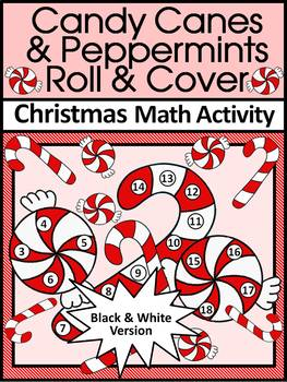 Christmas Activities: Candy Cane Roll & Cover Christmas Math Game Activity