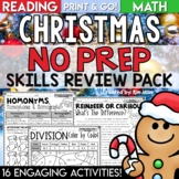 Christmas Activities Math and Reading Worksheets   NO PREP