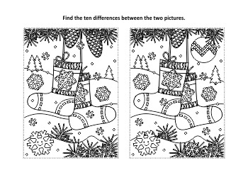 Christmas Activities: Christmas Socks Find the Differences and Coloring Page
