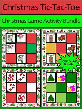 Christmas Activities: Christmas Tic-Tac-Toe Games Activity Bundle - Color & BW
