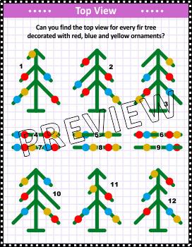 Christmas Activities: Christmas Tree Top View Visual Puzzle, CU