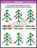 Christmas Activities: Christmas Tree Top View Visual Puzzle, Non-CU
