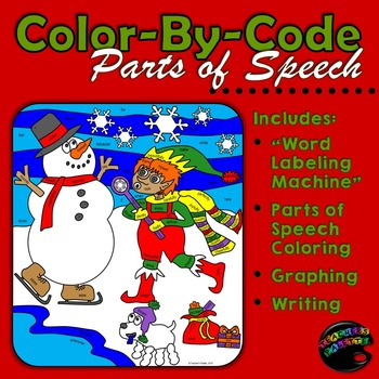 Christmas Activities: Color-By-Code Parts of Speech; Graph