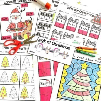 Christmas Activities - Copy & Go Language Arts and Math Printable Pack