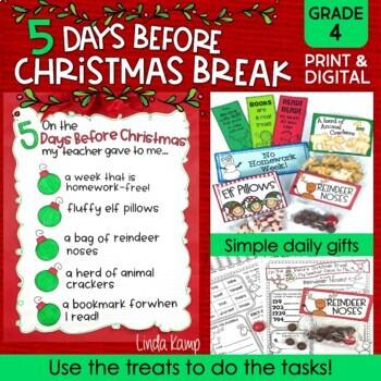 Christmas Activities & Countdown Gifts 5 Days Before Christmas Break Grade 4
