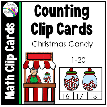 Christmas  Activities Counting Clip Cards Candy