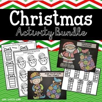 Christmas Craftivity Math ELA Bundle No Prep Printable Activities