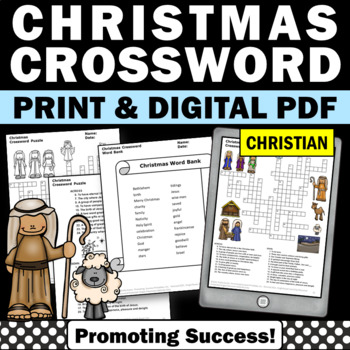 Christmas Crossword Puzzle Religious Vocabulary Worksheet